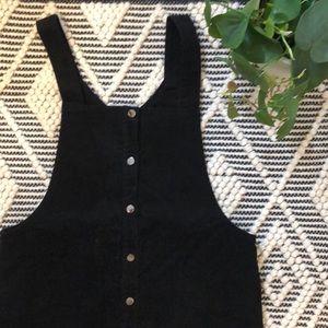 NWOT black corduroy dungaree dress